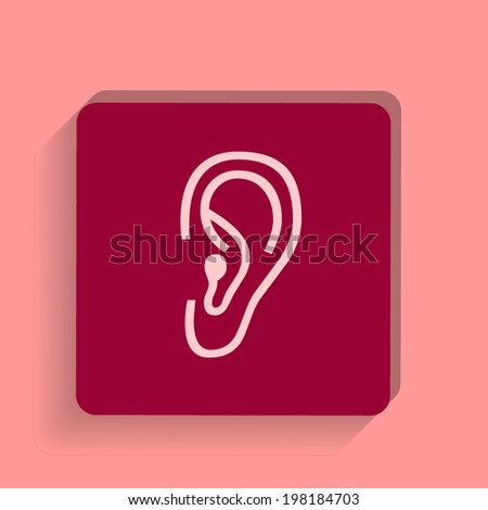 square button on a pink background. Vector illustration Ear icon VECTOR  - stock vector