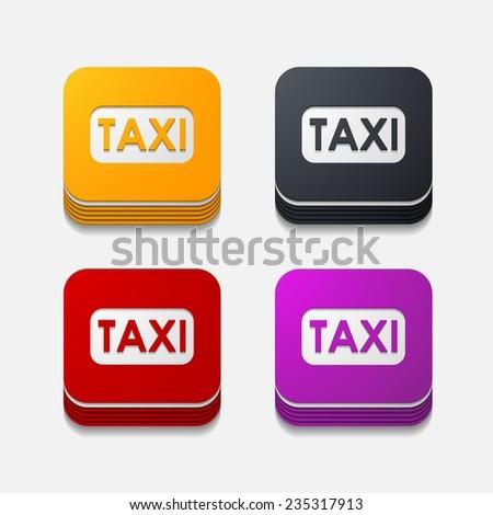square button: taxi - stock vector