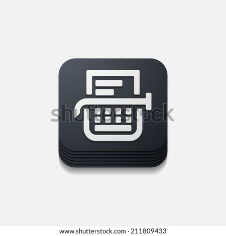 square button: typewriter - stock vector