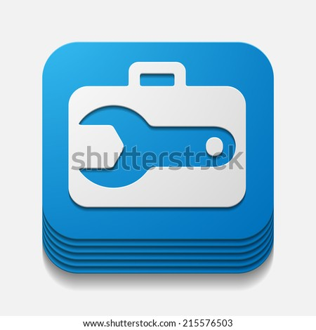 square button: wrench - stock vector