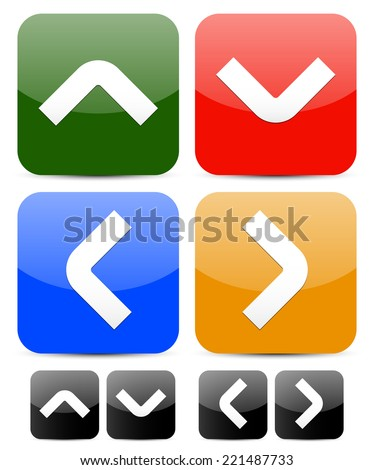 Square buttons with arrowheads - stock vector