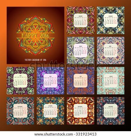 square calendar 2016. Oriental colorful patterns, vector illustration.  - stock vector