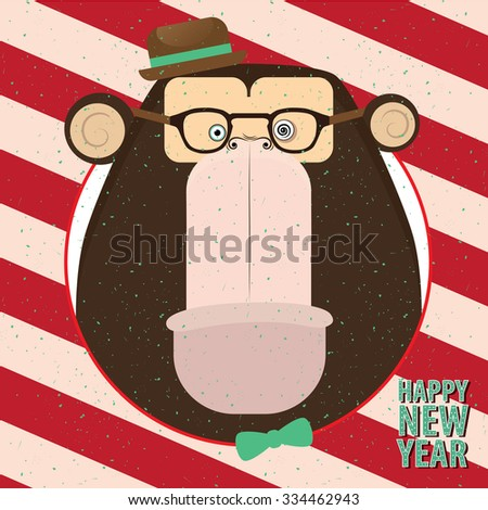 Square congratulation Happy New Year with closeup monkey in candy retro frame - stock vector