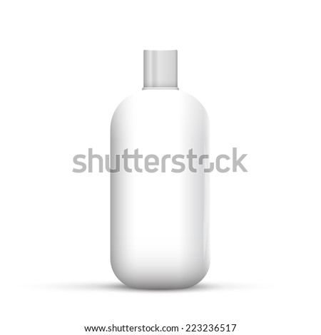 Square Cosmetic Or Hygiene Spray Dispenser Pump Plastic Bottle With Label Of Gel, Liquid Soap, Lotion, Cream, Shampoo. - stock vector