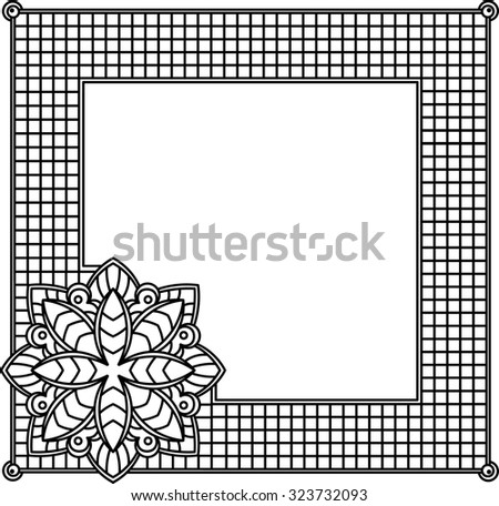 Square decorative frame with abstract flower. Style mosaic, mosaic tiles. - stock vector