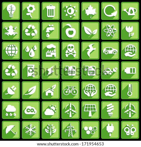 Square Ecology Buttons. - stock vector