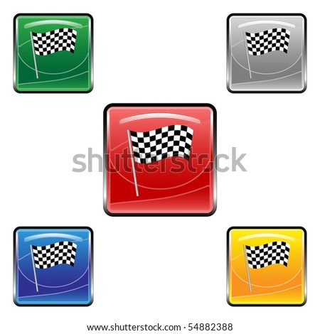 Square finish flag vector buttons - stock vector