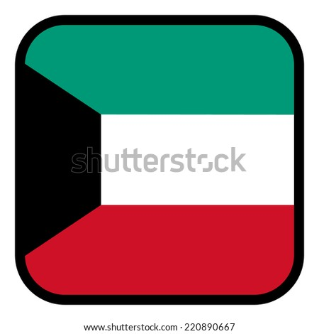 Square flag button series - Kuwait - stock vector