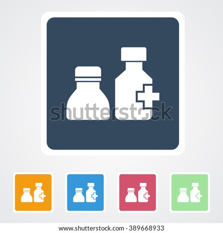 Square flat buttons icon of Drug bottle. Eps-10. - stock vector
