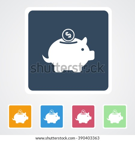 Square flat buttons icon of Piggy Bank. Eps-10.  - stock vector