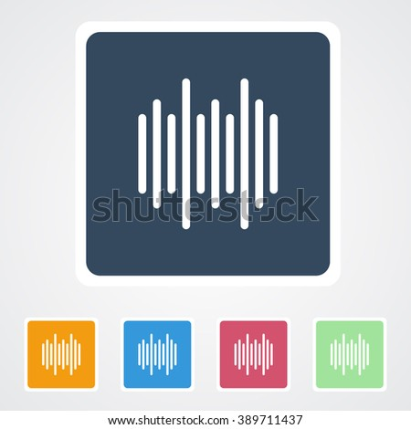 Square flat buttons icon of Sound waveequalizer music. Eps-10 - stock vector