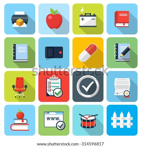 Square flat icons with long shadow, set 9 - stock vector