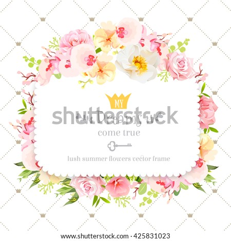 Square floral vector design frame. Orchid, wild rose, camellia flowers and fresh green leaves. Feminine summer decoration. Simple backdrop with diagonal lines and small princess crowns. - stock vector