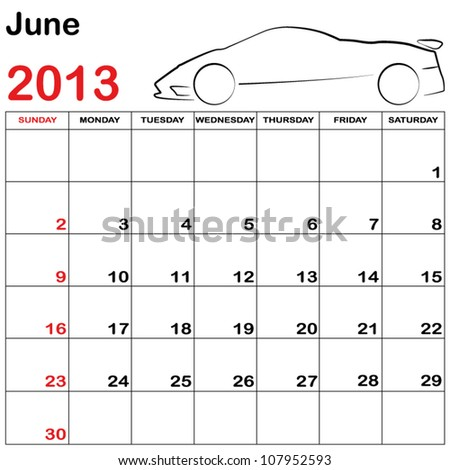 Square Format Note Calendar with a Collection of Cars - June - stock vector