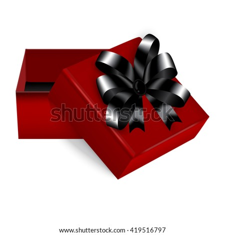 Square gift box with a stylish red and black bow trim, a great addition to expensive gifts or jewellery. Vector - stock vector