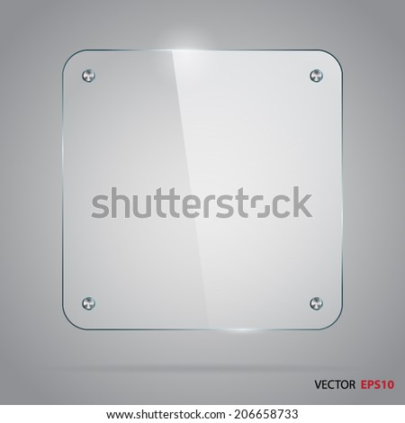 Square glass frame with steel rivets. - stock vector