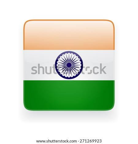 Square glossy icon with national flag of India on white background - stock vector