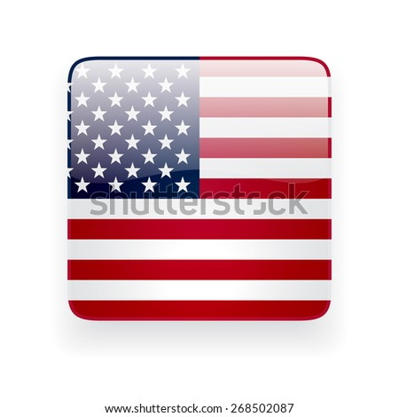 Square glossy icon with national flag of the USA on white background - stock vector