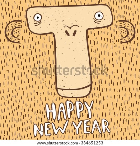 Square greeting card Happy New Year with funny monkeys head - stock vector