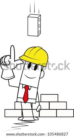Square guy-Brick - stock vector