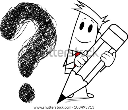 "Square guy-Drawing ""question mark"" - stock vector"