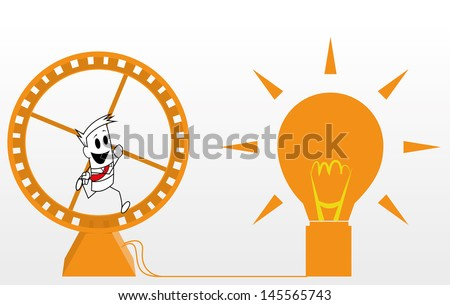 Square guy -  Running in a hamster wheel - stock vector