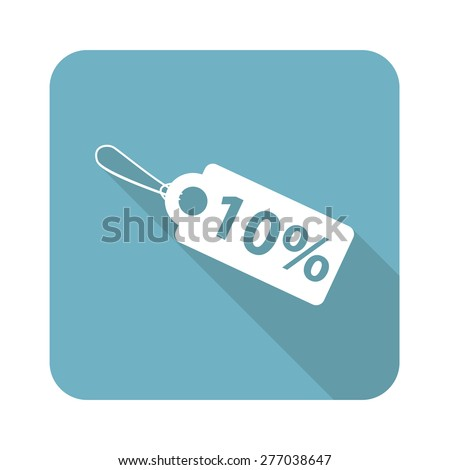 Square icon with image of 10 percent discount, isolated on white - stock vector