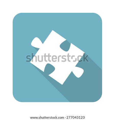Square icon with image of puzzle piece, isolated on white - stock vector