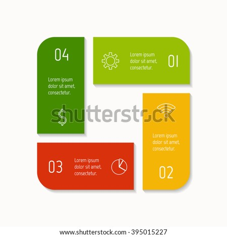 Square infographic banner with 4 options. Isolated number banner template for diagram, presentation or chart. Progress steps for tutorial. Business concept sequence banner. - stock vector