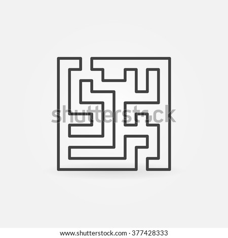 Square labyrinth icon - vector minimal maze or labyrinth outline symbol - stock vector