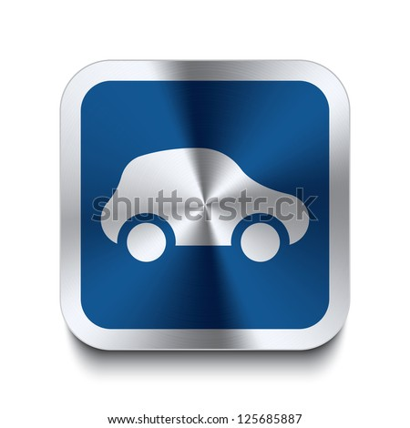 Square metal button with car icon print on top of it. Part of a collection of blue metal buttons. - stock vector