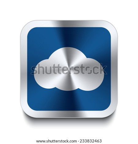 Square metal button with cloud icon print on top. Part of a blue metal buttons set. - stock vector