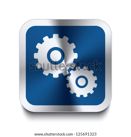 Square metal button with gear icon print on top of it. Part of a collection of blue metal buttons. - stock vector