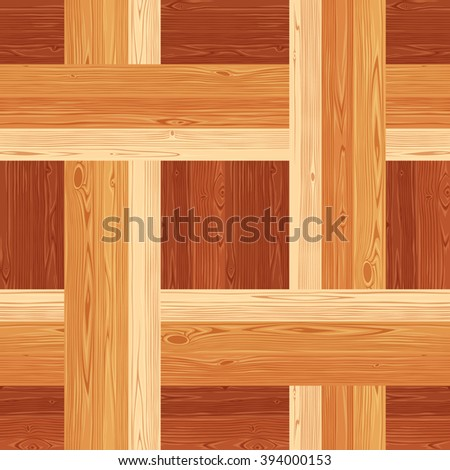 Square netting parquet seamless floor texture. Editable vector pattern in swatches. - stock vector