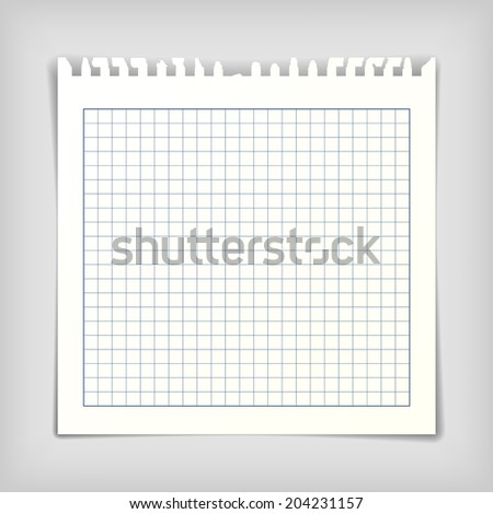 Square note paper sheet - stock vector