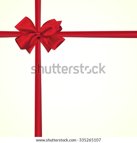 Square paper card with tied red bow and place for text.  - stock vector