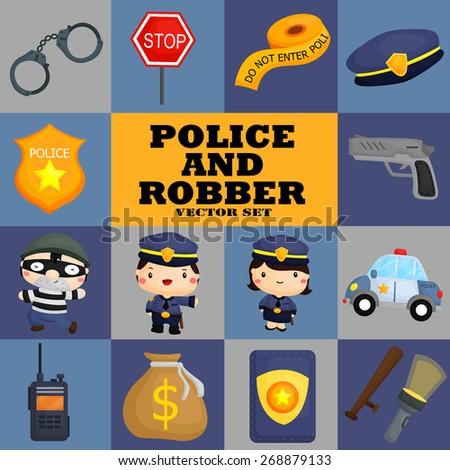 square police and robber  - stock vector