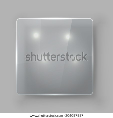 Square protective glass plate vector template. - stock vector