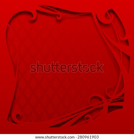 Square red frame. Christmas and New-Year's greeting card. Vector illustration - stock vector