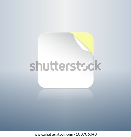 Square round corners sticker with peeled curled angle - stock vector