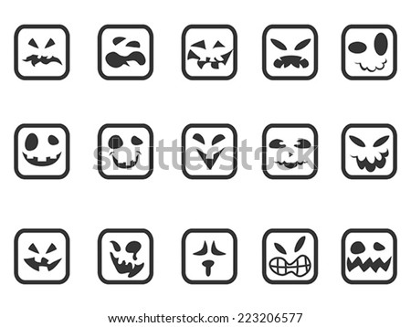 square scary face icons set - stock vector