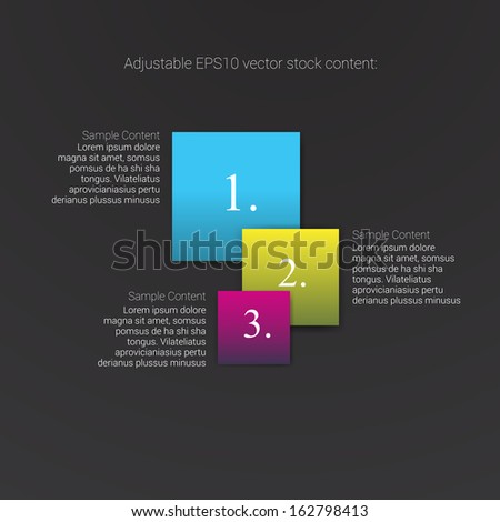 Square shaped cmyk edition of an abstract geometric vector simple menu with three elements for ranking, web design, brochure, infographics, listing or touchscreen layout for numbering & navigation - stock vector