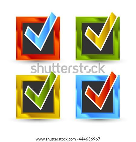 square shiny colored check marks - stock vector