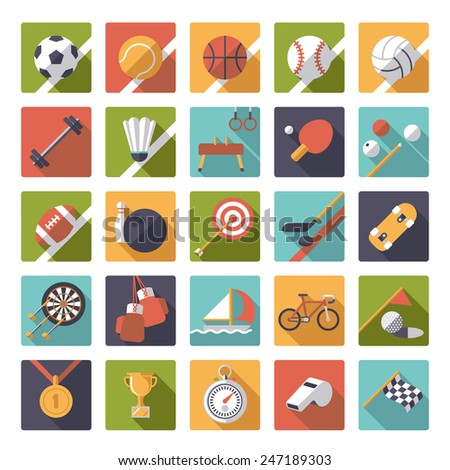 Square sports icons flat design vector set. Collection of 25 flat design sports and gymnastics vector icons in square shape with rounded corners. - stock vector
