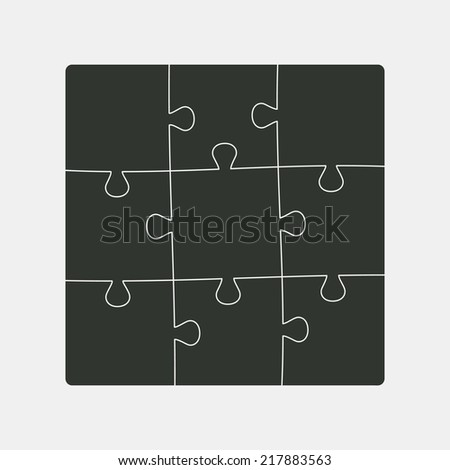 Square structure nine pieces of puzzles. Black color.  Vector illustration, eps 8. - stock vector