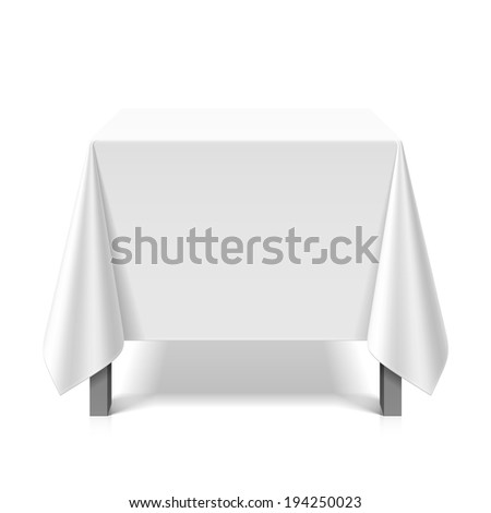 Square table covered with white tablecloth. Vector. - stock vector