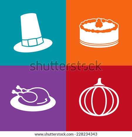 Square Thanksgiving Icons set. Vector flat design - stock vector