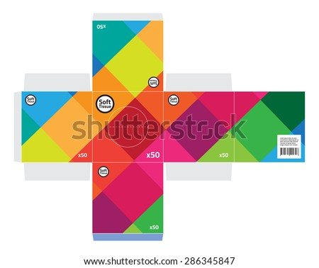 Square tissue box vector - Standard size. - stock vector