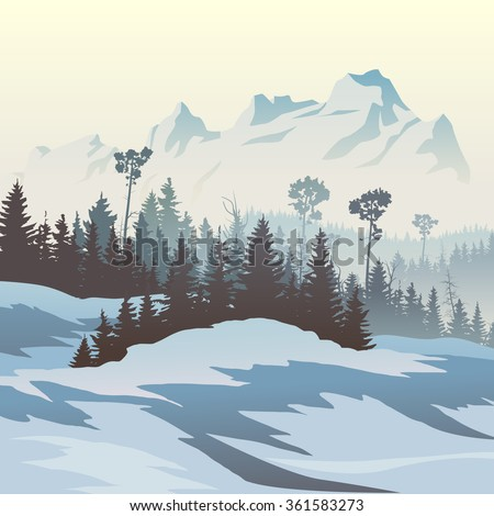 Square vector illustration of snowy coniferous forest valley with mountains. - stock vector