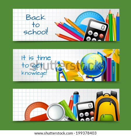 Squared notebook paper back to school education knowledge time banners set isolated vector illustration - stock vector